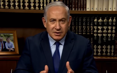 Prime Minister Benjamin Netanyahu discusses the ongoing anti-regime protests in Iran in a video published on January 1, 2018. (Screen capture: YouTube)