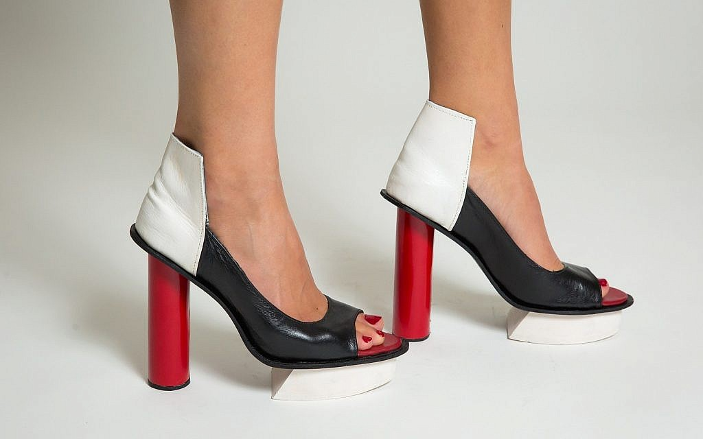 'Black White & Red' by Daniel Charkow. Red calf skin, black calf skin, white painted veg tan, black lining, EVA platform. (Matt Feinstein)