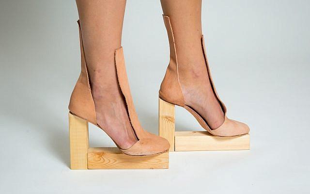 'Raw' by Daniel Charkow. Veg tan calf skin, plywood. (Matt Feinstein)