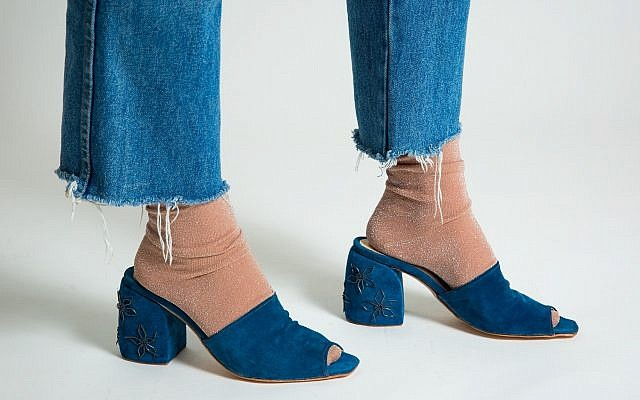 "'Nail"" by Daniel Charkow. Old shoe tacks, blue pig suede, calf lining. (Matt Feinstein)"