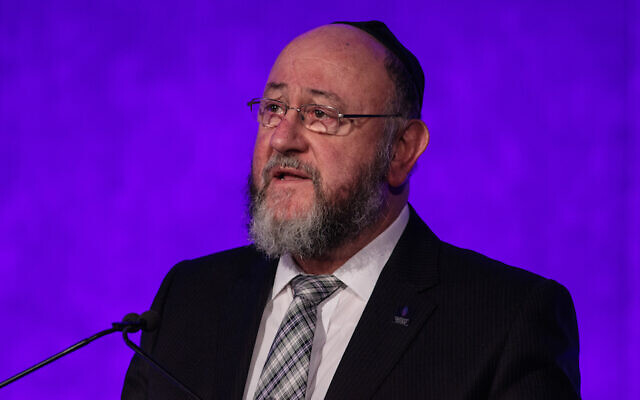 British Chief Rabbi Ephraim Mirvis speaks at a National Holocaust Memorial Day event at the Queen Elizabeth II Conference Centre, on January 26, 2017, in London, England. (Jack Taylor/Getty Images)