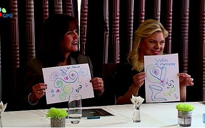 US Second Lady Karen Pence (left) and Sara Netanyahu hold up drawings during a session with art therapists in Jerusalem on January 22, 2018. (Screen capture/YouTube)