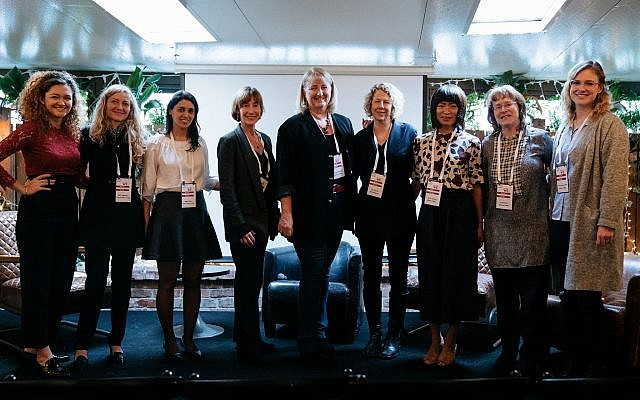 The WE2 delegation of women from Silicon Valley seeks to set up networks and mentorships to create an equal playground in tech. The delegation is seen here accompanied by SNC representatives, January 16, 2018 (Ido Weisman, courtesy Start-Up Nation Central)