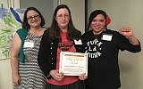 Left to right: Naomi Strand of Northwest Detention Center Resistance (NWDCR), Kim Berman of Kadima, and Wendy Pantoja of NWDCR after the award ceremony. (Tomas Madrigal)