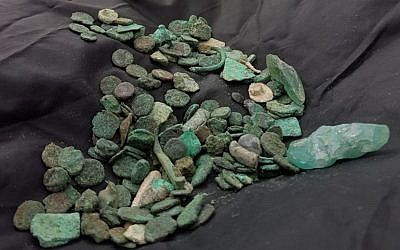 A trove of some 150 1,500-year-old coins discovered with an antiquities robber in Ramat Hanegev. (Guy Fitoussi, Israel Antiquities Authority)