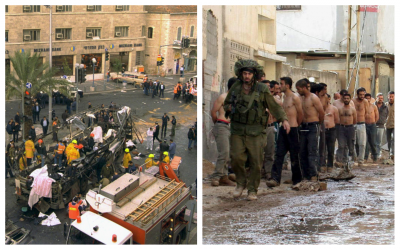 Left: the scene of the 1996 bus bombing in downtown Jerusalem; right: Palestinians detained in Jenin, 2002, during the Second Intifada. (Courtesy Ian Black)