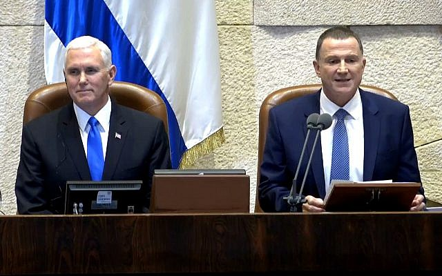 Knesset Speaker Yuli Edelstein (right) sits alongside US Vice President Mike Pence ahead of Pence's speech to the plenum, January 22, 2018 (screen capture: YouTube)