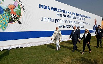 Indian Prime Minister Narendra Modi, left, Prime Minister Benjamin Netanyahu, center and his wife Sara arriving in Ahmadebad, India on January 17, 2018. GPO)