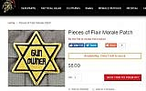 A yellow star patch with the words 'Gun Owner' for sale on gun enthusiast site Tacticalshit.com (screenshot)