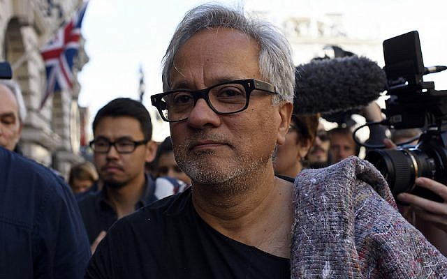 Anish Kapoor walking in a march in London in solidarity with migrants currently crossing Europe, Sept. 17, 2015. (Ben Pruchnie/Getty Images via JTA)