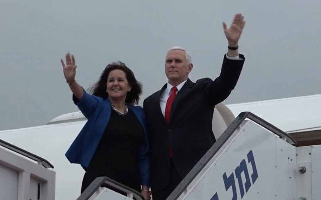 US Vice President Mike Pence and wife Karen wave as they board Air Force Two to depart Israel at Ben Gurion Airpory, January 23, 2018 (US embassy video screenshot)
