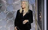 Presenter Barbra Streisand  speaks onstage during the 75th Annual Golden Globe Awards at The Beverly Hilton Hotel on January 7, 2018 in Beverly Hills, California.  (Paul Drinkwater/NBCUniversal via Getty Images via JTA)