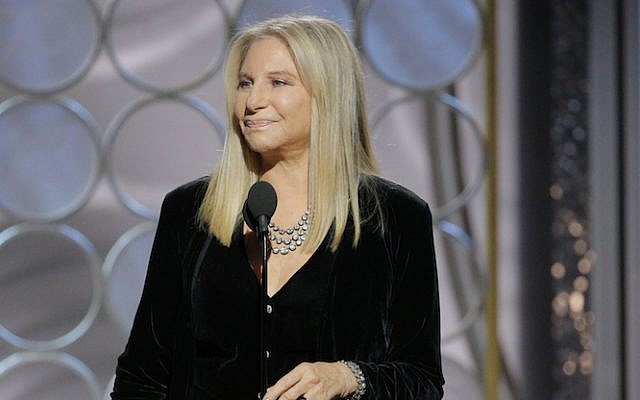 Presenter Barbra Streisand  speaks onstage during the 75th Annual Golden Globe Awards at The Beverly Hilton Hotel on January 7, 2018, in Beverly Hills, California.  (Paul Drinkwater/NBCUniversal via Getty Images via JTA)