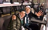 Phil Basser with his grandson Josh Potter at the Eagles' NFC Championship game against the Minnesota Vikings in Philadelphia, January 21, 2018. (Courtesy of Fox 29 News)