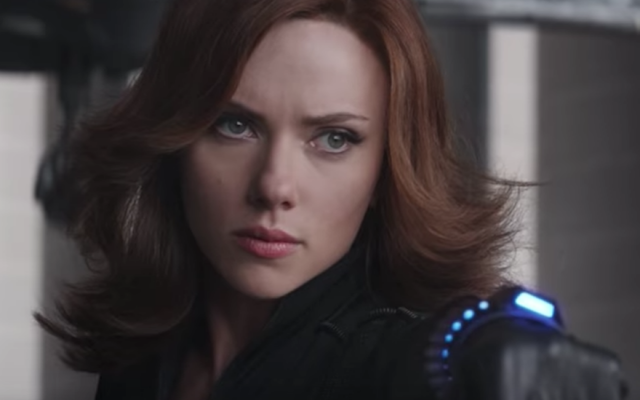 Scarlett Johansson as the Black Widow superhero. (Screenshot from YouTube/JTA)