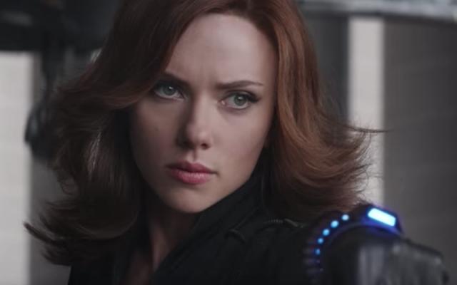 Scarlett Johansson as the Black Widow superhero. (Screenshot from YouTube/JTA)