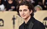 "Timothee Chalamet, up for best actor this year for ""Call Me By Your Name,"" shown at the Screen Actors Guild Awards in Los Angeles, Jan. 21, 2018. (Frazer Harrison/Getty Images via JTA)"