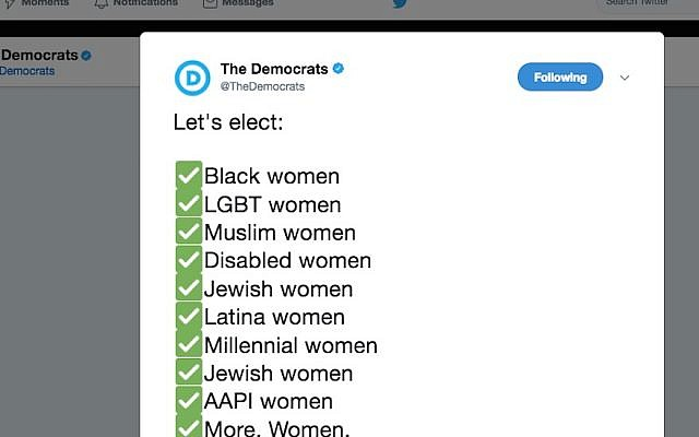 Screenshot of the Democratic Party's official Twitter account calling for more minority women to enter politics.  (Screenshot from Twitter, via JTA)