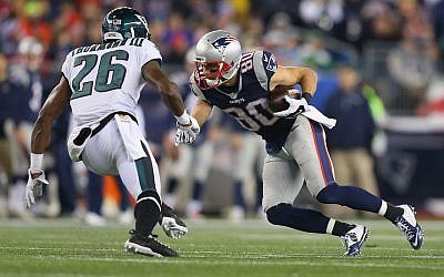 A Philadelphia Eagles-New England Patriots game in 2015. (Jim Rogash/Getty Images via JTA)