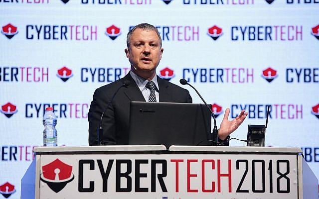 High-tech entrepreneur and former Knesset member Erel Margalit speaking at the 2018 Cybertech conference in Tel Aviv; Jan 31, 2018 (Dror Sithakol Photography)
