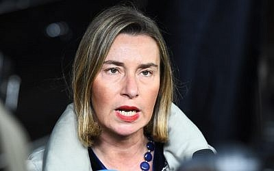 EU foreign policy chief Federica Mogherini arrives at the European Council in Brussels to attend a foreign affair council meeting, January 22, 2018.  (AFP PHOTO / EMMANUEL DUNAND)