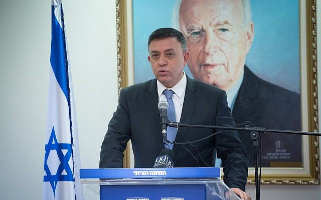 Zionist Union chairman Avi Gabbay leads a faction meeting at the Knesset, January 29, 2018. (Miriam Alster/Flash90)