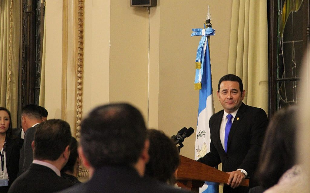 Guatemala's President Jimmy Morales speaking to a Jewish-Christian pro-Israel event at the National Palace of Culture in Guatemala City, January 25, 2018 (Ilan Kottler)