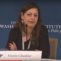 Screenshot of Hanin Ghaddar taken from a 2014 video of her address to a Washington conference that enraged the Lebanese.