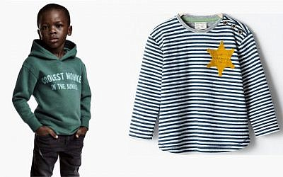H and O's monkey hoodie (left), Zara's yellow star T-shirt. Both garments elicited sharp backlash and were withdrawn.