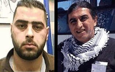 Muhammad Maharma, left, a Palestinian man accused of spying on behalf of Iran and planning to carry out terror attacks against Israel. And Backer Maharma, a Palestinian man living in South Africa, accused of connecting Muhammad to Iran. (Shin Bet)