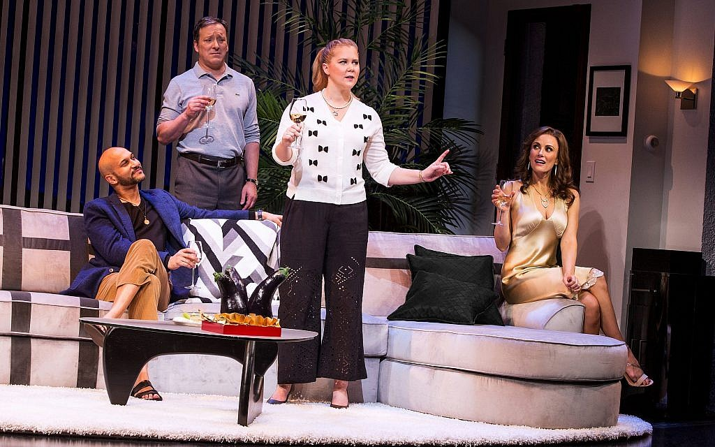 From left, cast members of 'Meteor Shower': Keegan-Michael Key, Jeremy Shamos, Amy Schumer and Laura Benanti. (Matthew Murphy/via JTA)