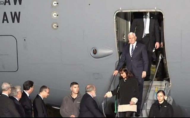 Mike Pence arriving in Israel on January 21, 2018. (screen capture: US Embassy)