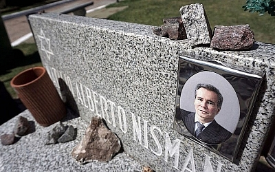 View of the grave of late Argentinian prosecutor Alberto Nisman at La Tablada Israelite cemetery in Buenos Aires, on January 10, 2018. (EITAN ABRAMOVICH/AFP/Getty Images via JTA)