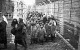 Liberation of children from Auschwitz-Birkenau, with adult female relief workers who were pixelated in Mishpacha magazine, January 24, 2018 issue. (HistClo.com)