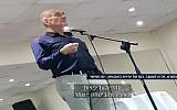 Former prime minister Ehud Olmert speaking to alumni of the Shin Bet's Protected Persons Unit in December 2017. (Channel 10 screen capture)