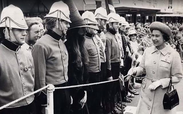 Queen Elizabeth ll on tour in New Zealand in 1981. Screenshot)