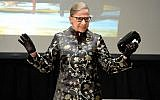 Ruth Bader Ginsburg at an event at the Temple Emanu-El Skirball Center in New York City, September 21, 2016. (Michael Kovac/Getty Images via JTA)