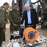 IDF brass brief President Reuven Rivlin during a tour of the Gaza border area, January 21, 2018. (Mark Neiman / GPO)