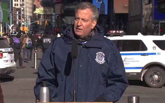 NYC Mayor Bill de Blasio announces new barriers to prevent terror attacks (YouTube screenshot)