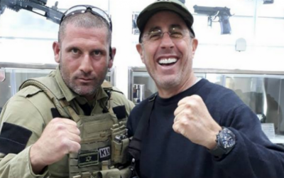 Jerry Seinfeld at the Caliber 3 anti-terror training camp outside of Efrat. (Facebook)