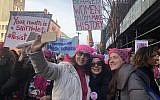 Protesters at the second annual Women's March in New York City, January 20, 2018 (Danielle Ziri/Times of Israel)