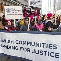Participants in the New York Women's March marching with the Workmen's Circle, Jan 21, 2017. (Courtesy of Workmen's Circle/JTA)