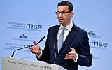 Polish Prime Minister Mateusz Morawiecki gives a speech during the Munich Security Conference on February 17, 2018, in Munich, southern Germany. (AFP PHOTO / Thomas KIENZLE)