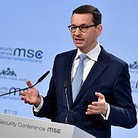 Polish Prime Minister Mateusz Morawiecki gives a speech during the Munich Security Conference on February 17, 2018 in Munich, southern Germany. (AFP PHOTO / Thomas KIENZLE)