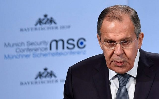 Russian Foreign Minister Sergei Lavrov gives a speech during the Munich Security Conference, on February 17, 2018, in Munich, Germany. (AFP Photo/Thomas Kienzle)