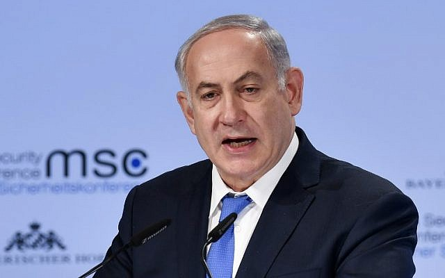 Prime Minister Benjamin Netanyahu delivers a speech on the third day of the 54th Munich Security Conference (MSC) held at the Bayerischer Hof hotel, in Munich, southern Germany, on February 18, 2018.  (AFP PHOTO / Thomas KIENZLE)