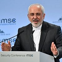 Iranian Foreign Minister Mohammad Javad Zarif gives a speech during the Munich Security Conference on February 18, 2018 in Munich, southern Germany. (AFP PHOTO / Thomas KIENZLE)