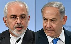 Iranian Foreign Minister Mohammad Javad Zarif (L) and Israeli Prime Minister Benjamin Netanyahu (R) as they attend the Munich Security Conference on February 18, 2018, in Munich, Germany. (AFP PHOTO / Thomas KIENZLE)