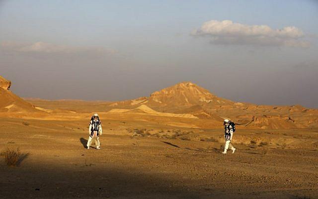 Israeli analog astronauts on their mission on the D-MARS Project on February 18, 2018. (AFP / MENAHEM KAHANA)