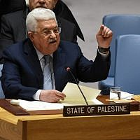 Palestinian leader Mahmoud Abbas speaks at the United Nations Security Council on February 20, 2018 in New York (AFP/Timothy A. Clary)